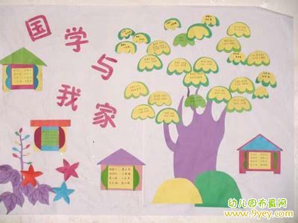 幼儿园中班国学风主题墙饰装饰图片:国学与我家