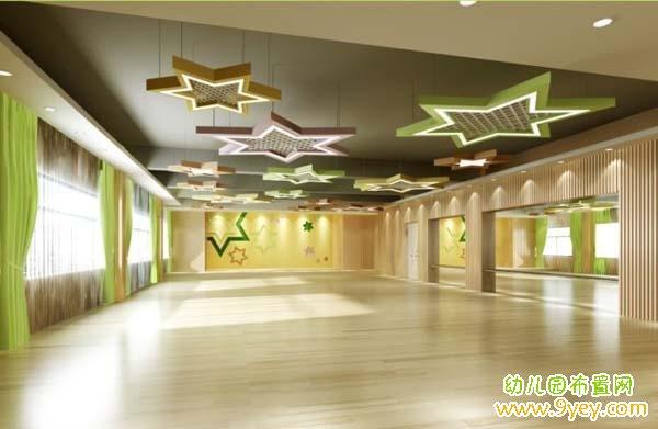 幼兒園舞蹈廳天花板設計效果圖_幼兒園布置網