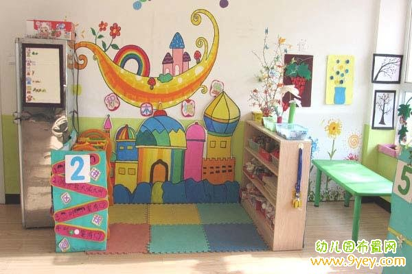 幼儿园建构区主题墙布置图片:做做拼拼