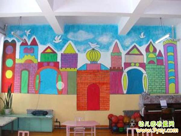 幼儿园城堡主题墙设计图片