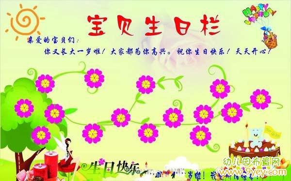 幼儿园宝贝生日栏背景设计图片