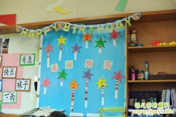 幼儿园生日快乐墙布置图片