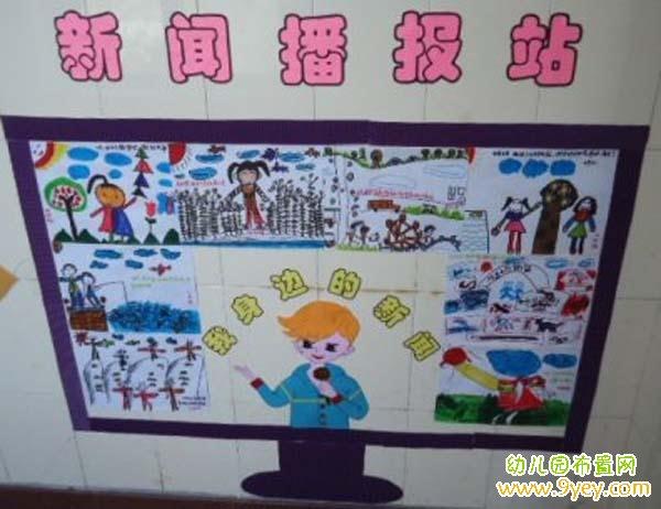 幼儿园新闻播报站区角墙面布置图片