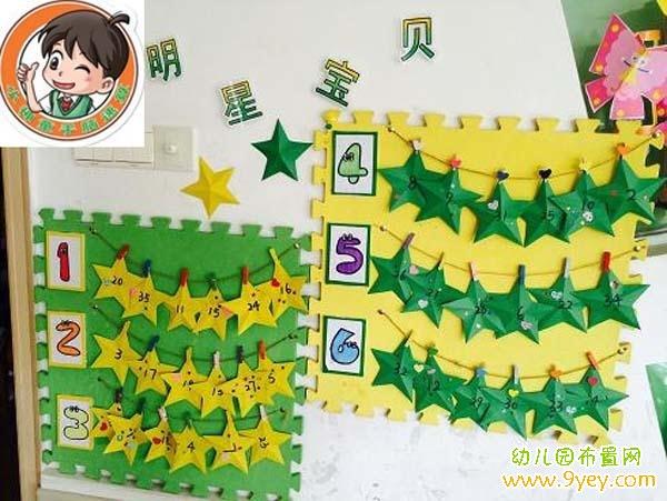 幼儿园表扬墙手工布置图片:明星宝贝