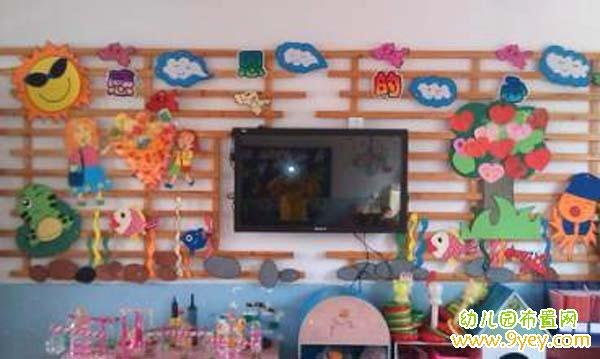 幼儿园感恩节教室电视背景墙装饰图片:感恩的心