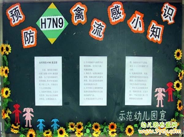 幼儿园预防h7n9禽流感宣传栏布置图片