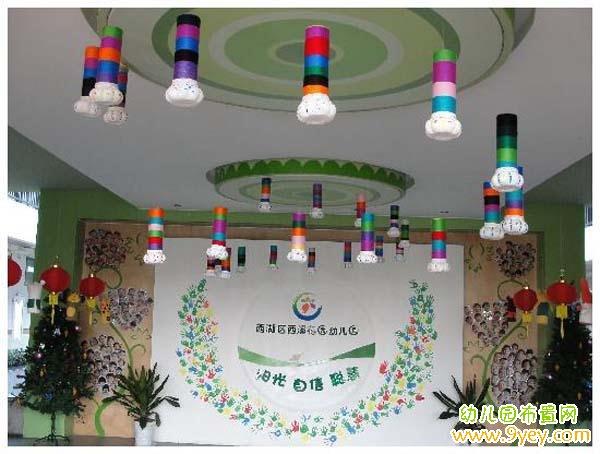 幼儿园入门大厅背景墙设计图片