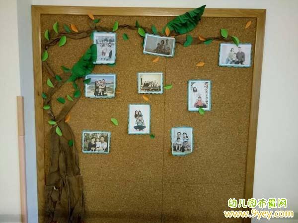 幼儿园亲子照片墙布置图片