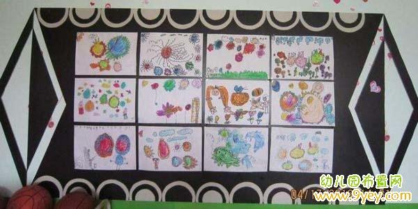 幼儿教师墙面布置设计_幼儿园大班美术作品展示墙布置图片_幼儿园布置网