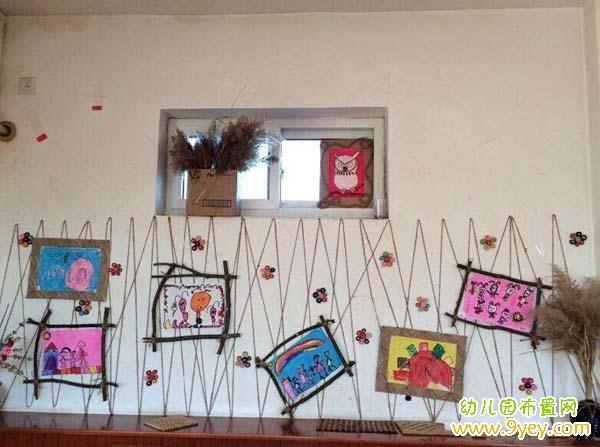 幼儿园手工作品墙设计图片