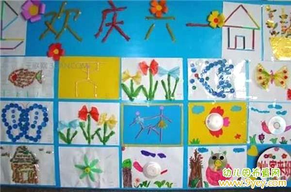幼儿园欢庆六一手工作品展示墙设计图片图片