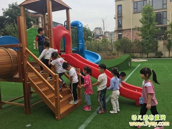幼儿园排队滑滑梯图片